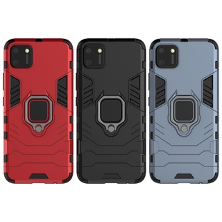 For OPPO Realme C11 Case Armor PC Cover Metal Ring Holder Phone Case Cover Shockproof Bumper