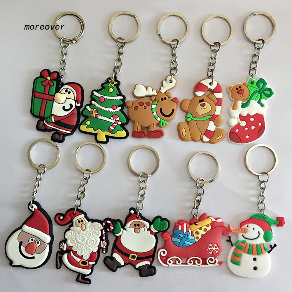 More♥2Pcs Santa Claus Xmas Tree Bear Snowman Key Ring Chain Keychain Bag Ornament