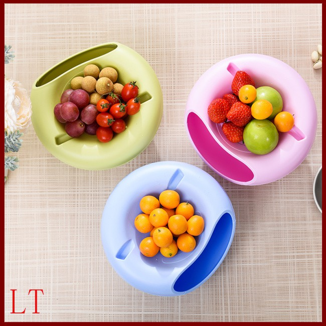 Multi-purpose Double Layer Dried Fruit Plate with Cellphone Stand Holder Snacks