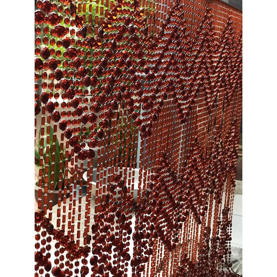 Rèm hạt nhựa pha lê màu gỗ hương đỏ - giá tính theo kích thước
