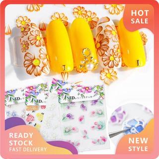 (hàng Mới Về) 1 Tấm Sticker Dán Móng Tay 5d Tự Dính Hình Hoa Trang Trí Nghệ Thuật