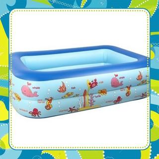 [SALE] Bể bơi 2 tầng hình vuông dày dặn, đàn hồi tốt, cho cảm giác êm khi tiếp xúc 120*95*32cm, S&T
