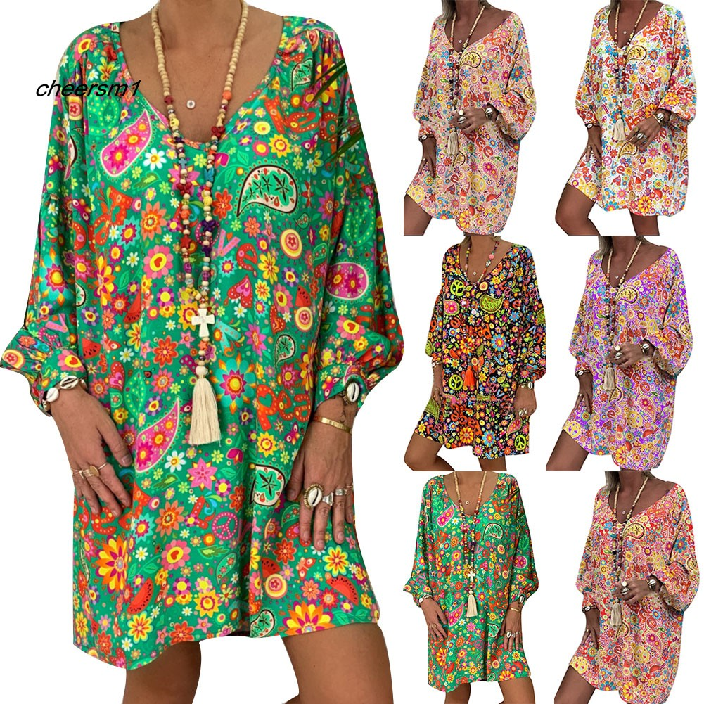 CHE♥Travel Beach Women Casual Colorful Long Puff Sleeve V Neck Loose Mini Dress