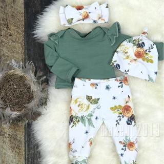 Mu♫-Hot Newborn Baby Girls Floral 3pcs Clothes Bodysuit Romper Pants Headband Outfit Set