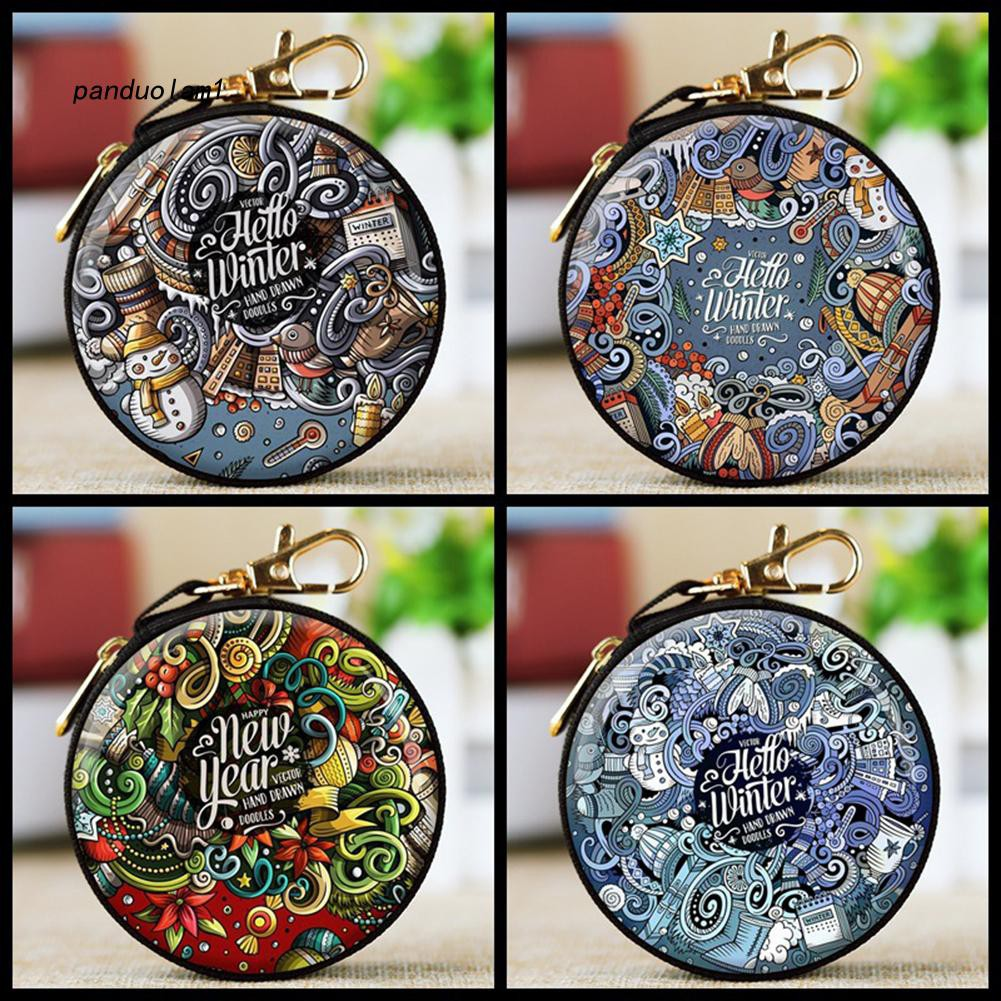 【PDL】&✱Cute Christmas Printed Round Zipper Coin Purse Headphone Xmas Gift Container