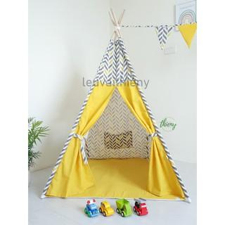 Lều vải cọc gỗ cho bé – vải canvas gỗ tự nhiên – lều vải Thiên Ý