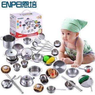 Bộ đồ chơi nấu ăn inox 25-40 món cho bé
