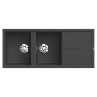 Chậu rửa bát đá KONOX Granite Series Livello 1160 Black, Made in Italy, Full set gồm Siphon + Giá úp bát inox