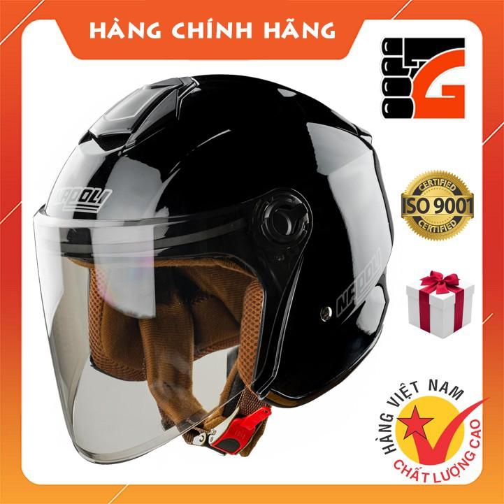 ✅[GLOVESZONE] Mũ bảo hiểm 3/4 kính NAPOLI X3 đen bóng - Hàng Chính hãng