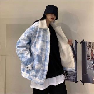 Áo khoác jeans mây xanh tie dye | Shopee Việt Nam
