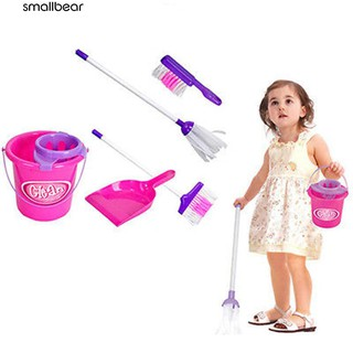 5Pcs Kids Play House Cleaning Mop Broom Bucket Brush Dustpan Set Pretend Toy