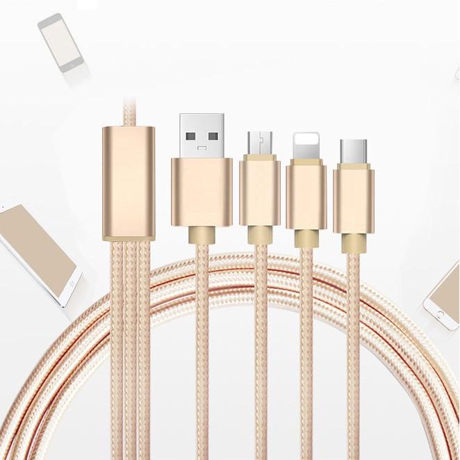 (Giá sỉ) Cáp sạc dây dù đa năng 3 đầu Lightning - Type C - Micro USB mẫu 1