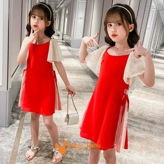Đầm đỏ phối tay xòe phong cách Hàn Quốc thời trang cho bé gái