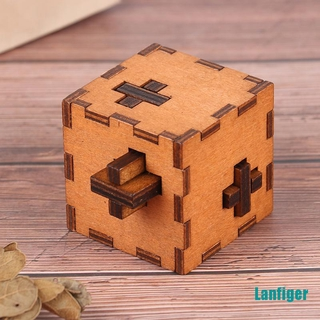 【Lanfiger】Switzerland Cube Wooden Secret Puzzle Box Wood Toy Brain Teaser Toy For Kids
