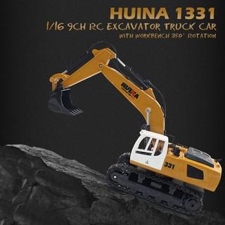 【điều khiển từ xa】HUINA TOYS 1331 1/16 9CH RC Excavator Truck Car with Light 350° Rotation