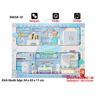 Mô hình nhà búp bê Z603A-10 – Dùng pin, có đèn, nhạc – Phòng ngủ + Phòng bếp + Búp bê Elsa