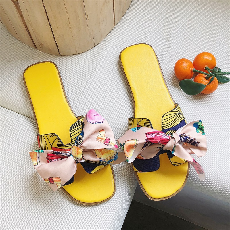 ┋✱✸Cool slippers female outside wearing 2019 new summer fairy wind holiday beach a word trawling red bow H drag tide