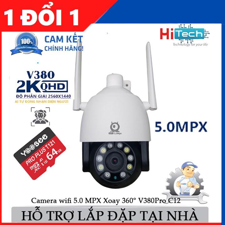 (kèm thẻ 64gb)Camera wifi ngoài trời V380 Pro C12 5.0 Mpx, xoay 360 độ, theo dõi chuyển động, ban đêm có màu