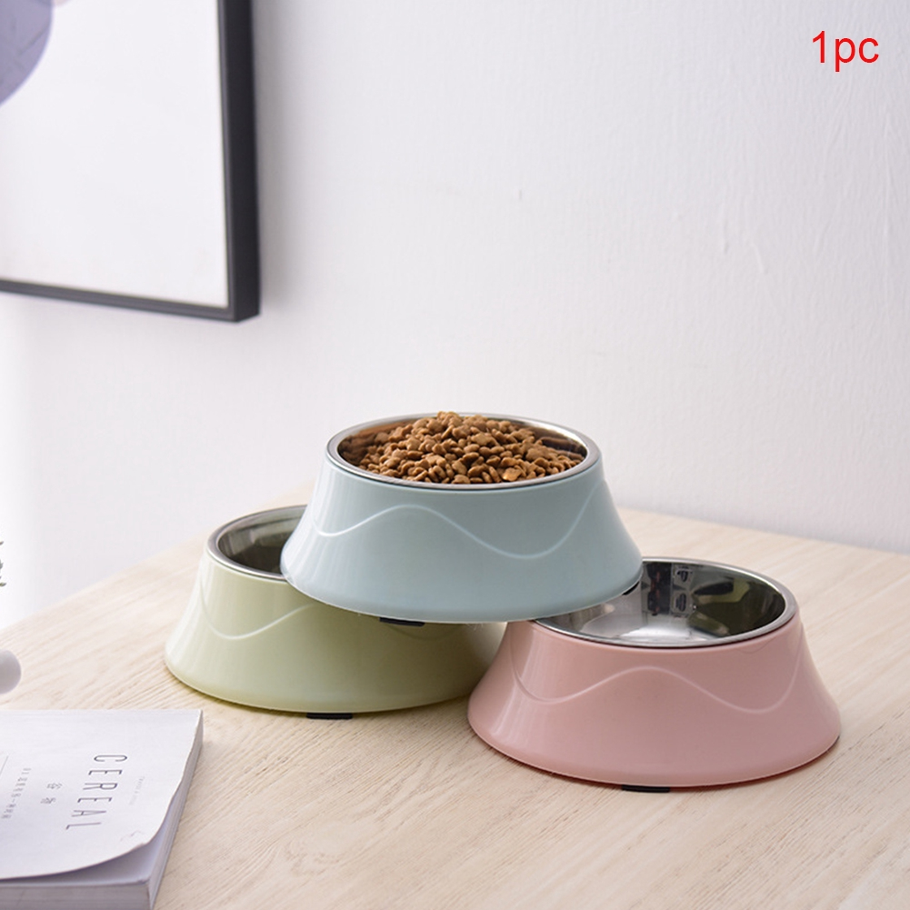 Drinking Water Stainless Steel Double Layers Dogs Cat Feeding Easy Clean Anti Slip Color Spray Paint Pet Bowl