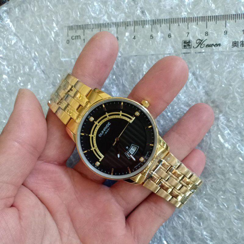 Đồng hồ nam sunrise chính hãng dây vàng mặt đen cao cấp , mẫu mới nhất 2021