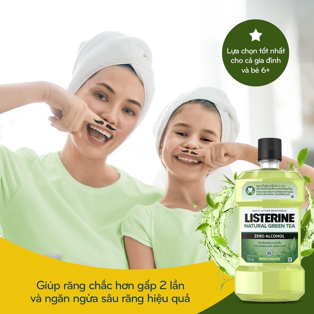 Nước súc miệng Listerine Trà Xanh Greentea Zero Không Cay 750ml Tặng Nước súc miệng Coolmint 250ml - 540021399