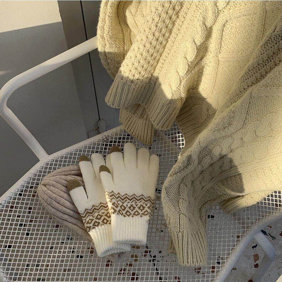 Găng tay dệt kim giữ ấm có thể cảm ứng màn hình thoải mái cho cả nam và nữ