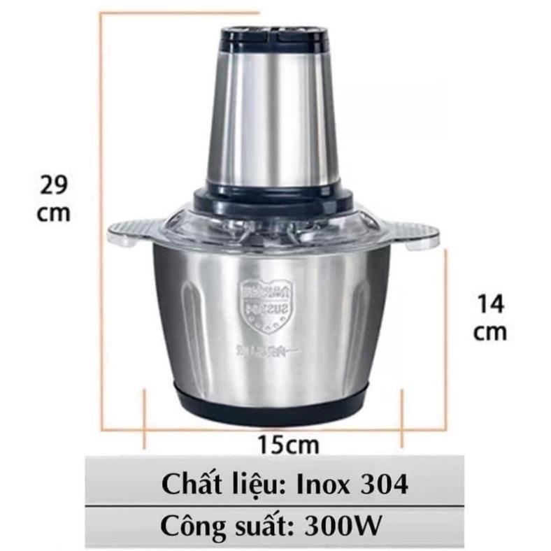 Máy Xay Thịt Đa Năng Cối INOX  2L Công Suất 250W, 4 Lưỡi, Cối xay thực phẩm Đa Năng