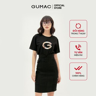 Chân váy suông nữ phối đai lưng GUMAC dáng chữ A basic nhiều màu VB390 thumbnail