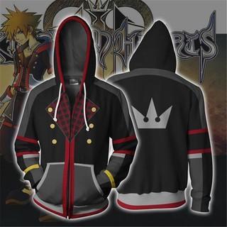 Áo Khoác Hoodie Khóa Kéo In Họa Tiết 3d Trong Game Kingdom Hearts Sora