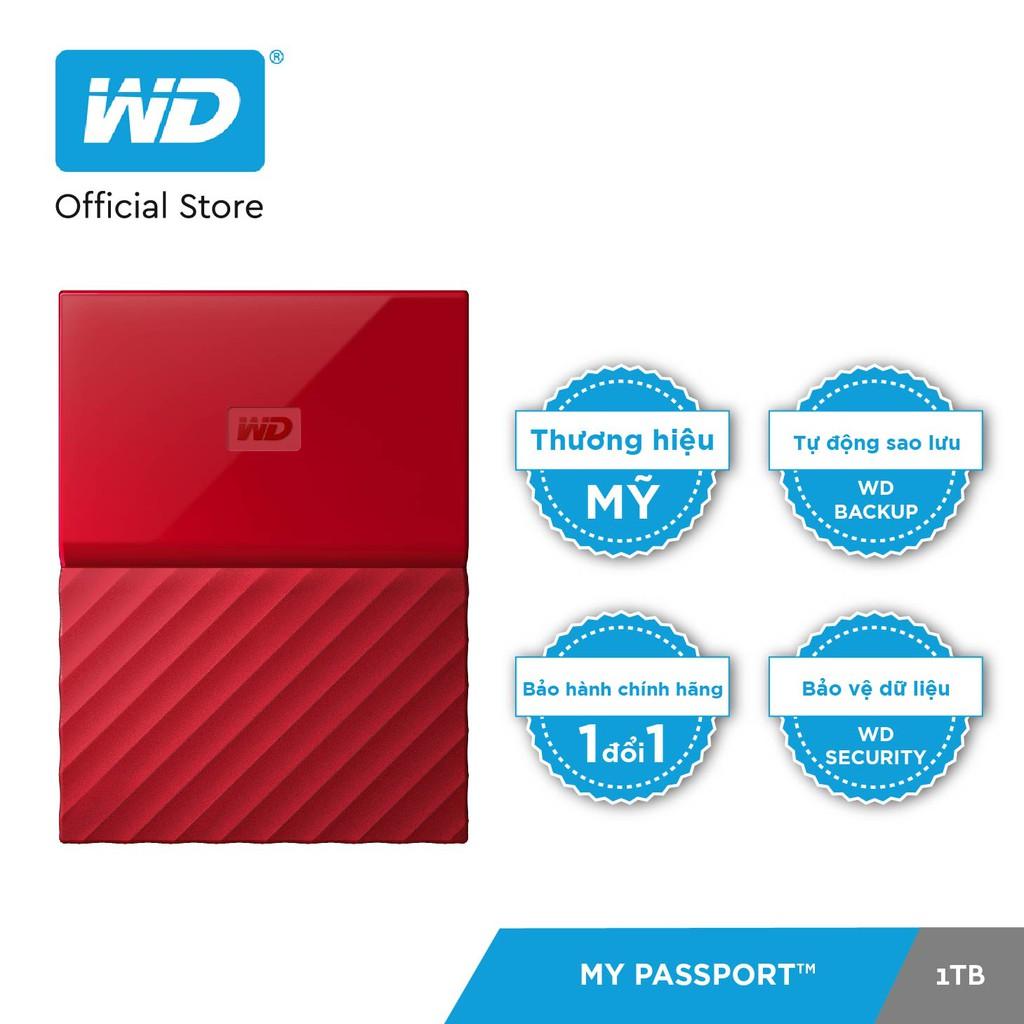 [Mã ELWD08 giảm 150k đơn 1 triệu] Ổ cứng WD My Passport 2.5 INCH 1TB Portable (Đỏ)- Hãng Phân Phối Chính Thức