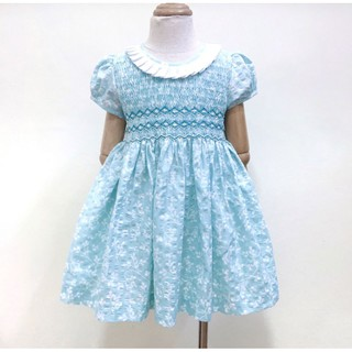 Đầm smock xanh ngọc cổ tròn