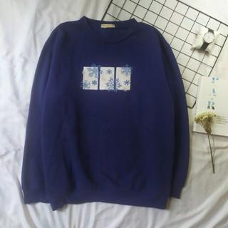 [2hand] Áo nỉ Sweater hình bông tuyết dáng thụng đáng yêu thumbnail