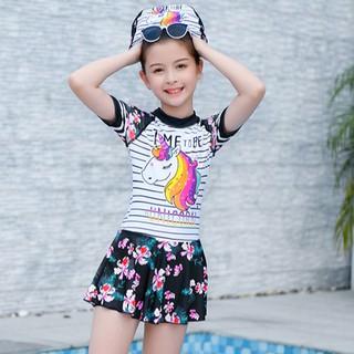 Áo bơi bé gái công chúa kỳ lân kèm nón bơi (size 15-40kg) (đồ liền thân)
