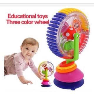 Vòng quay bánh xe xúc xắc 3 màu sassy có chân hút dính gắn vào ghế ăn dặm cho bé quay