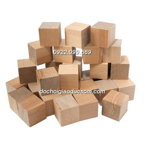 Bộ khối gỗ lập phương mộc 2cm - 100 khối