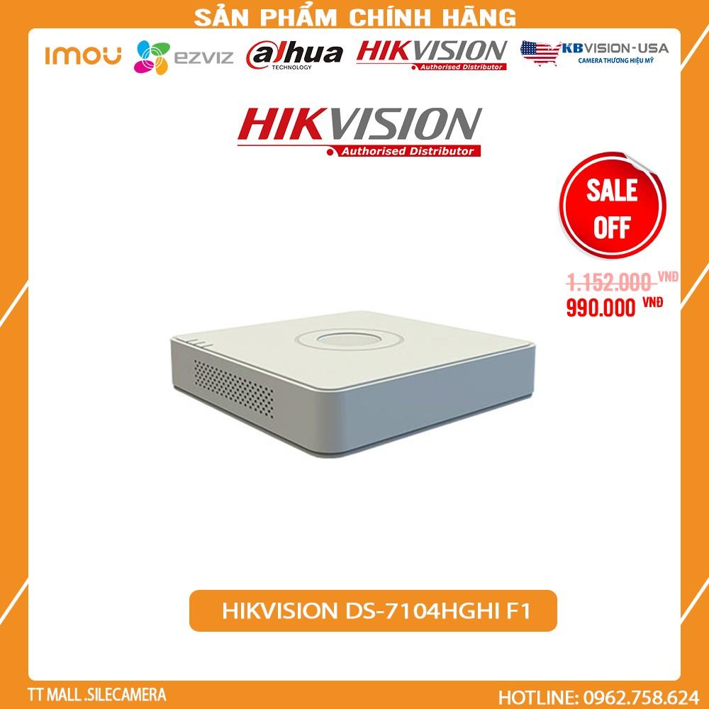 Đầu ghi hình 4 kênh TVI 5 trong 1 Hikvision DS-7104HGHI-F1 vỏ nhựa 1MP