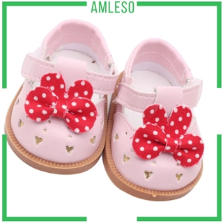 [AMLESO] Cute PU Leather Shoes Bowknot Shoes for 18″ AG American Doll Dolls Accessory