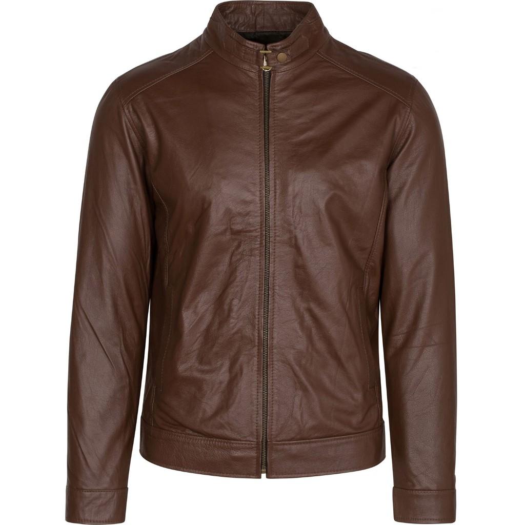 Áo da thật chất liệu da bò màu nâu áo khoác da FTT Leather - Áo khoác dạ