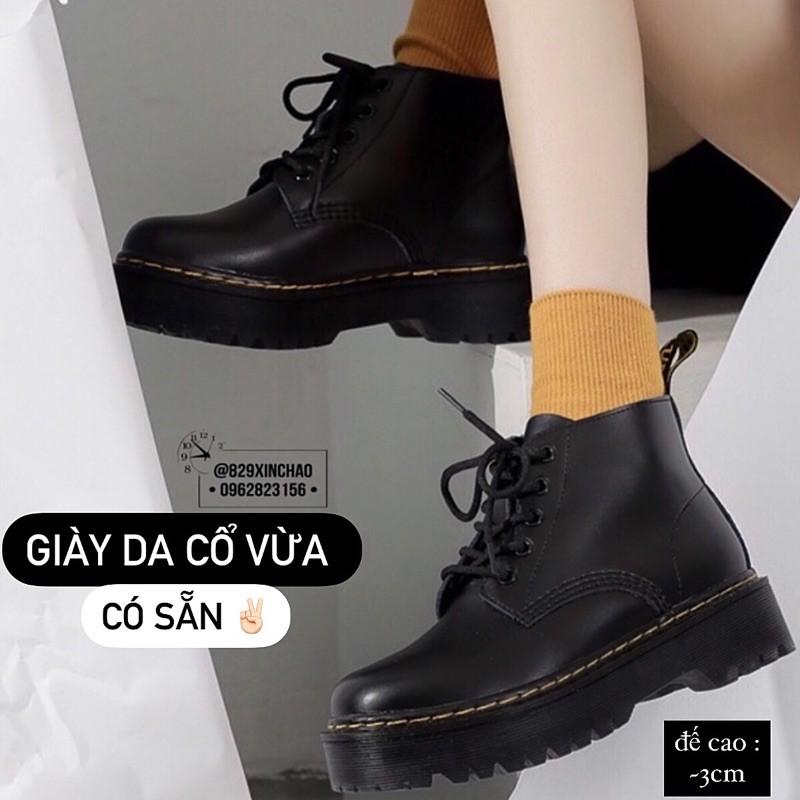 Giày da cổ vừa😄Giày đen da (ảnh thật feedback)😃 basic shoes 😎 chất da chống nước 💧