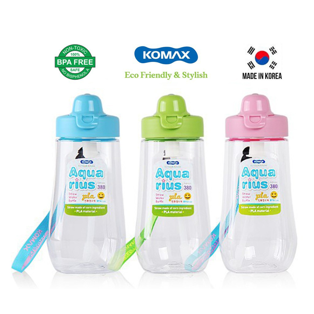 Bình nước trẻ em Komax Hàn Quốc Aquarius 380ml có dây đeo, Nắp nhựa PP, Thân nhựa Tritan chịu nhiệt độ cao