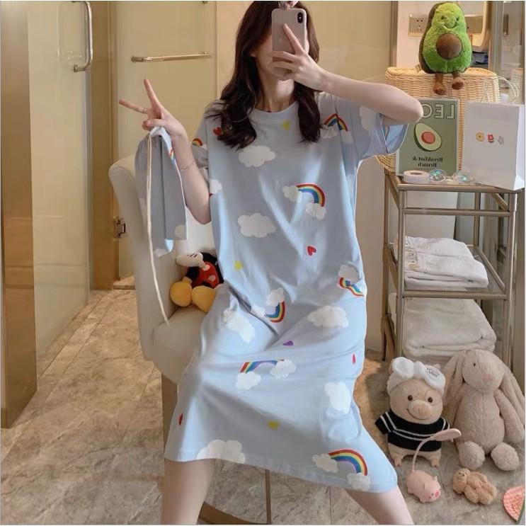 Mặc gì đẹp: Dễ chịu với [Hàng có sẵn/Video]Đầm bầu 🌸 FREESHIP 50K 🌸 Váy bầu mặc ở nhà mềm,mát,mỏng họa tiết hoạt hình hàng Quảng Châu