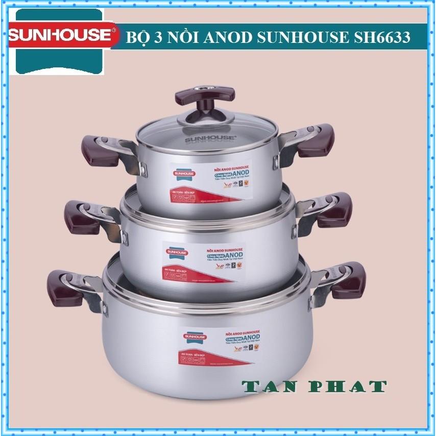 Bộ nồi ANOD sunhouse SH6633 (MÀU TRẮNG) có hình thật