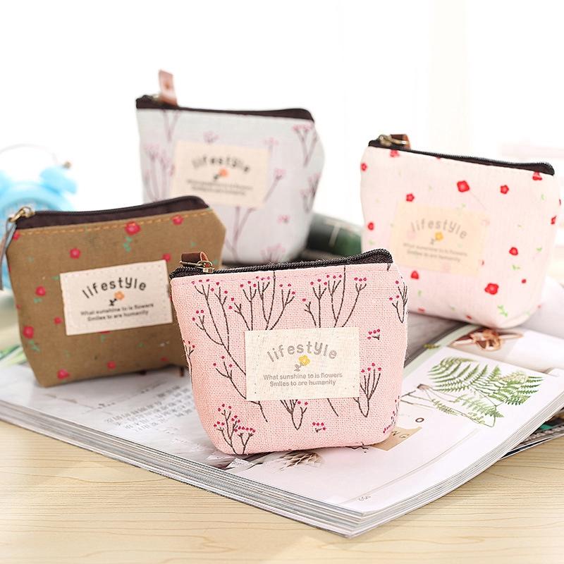 Ready Stock Fashion Cute Floral Coin Purse Mini Cartoon Canvas Bag