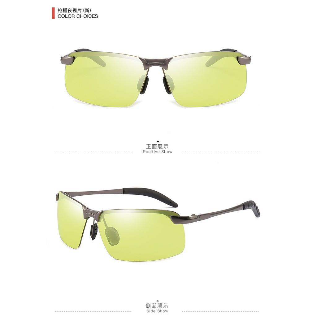 Kính đổi màu đi ngày và đêm gọng nhôm magiê nhẹ, mắt kính polarized phân cực, chống UV
