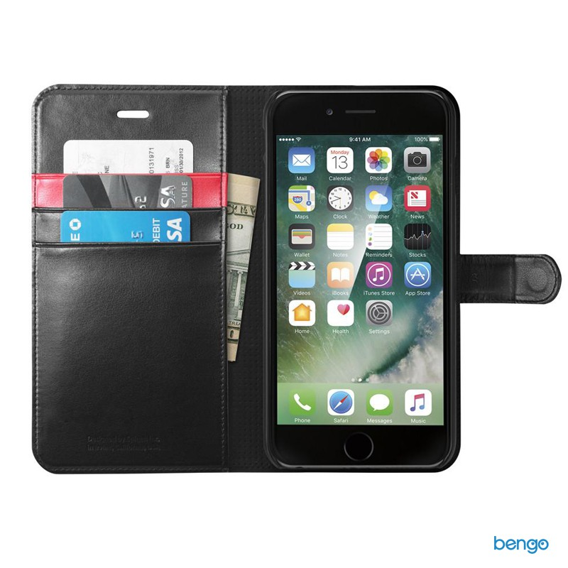 Bao da iPhone 8/7 Plus SPIGEN Wallet S - Black