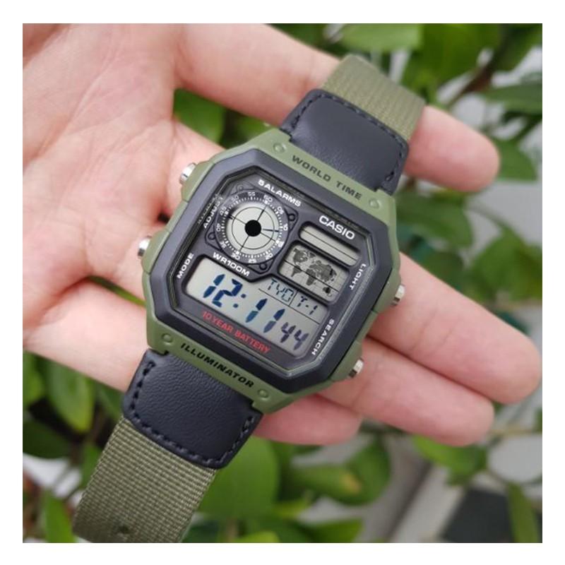 Đồng hồ nam dây vải Casio Anh Khuê AE-1200WHB-3BVDF