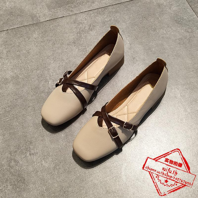 องเท้าส้นเตี้ยหญิงปากตื้นข้ามเข็มขัดแบนกับรองเท้ายายด้านล่างนุ่มรองเท้าทำงานรองเท้าขับรถที่สะดวกสบาย