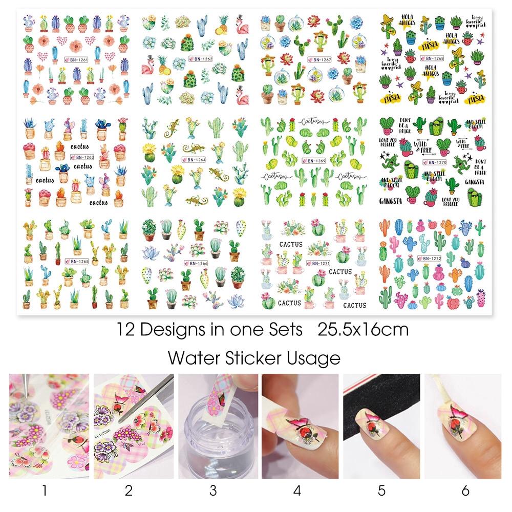 Set 12 miếng dán móng trang trí nghệ thuật nhiều kiểu dáng dễ thương