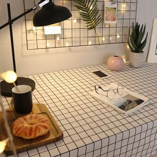 Khăn trải bàn vintage kẻ caro nhựa PVC không thấm nước khăn decor phông nền chụp ảnh trang trí phòng khách phủ bàn trà