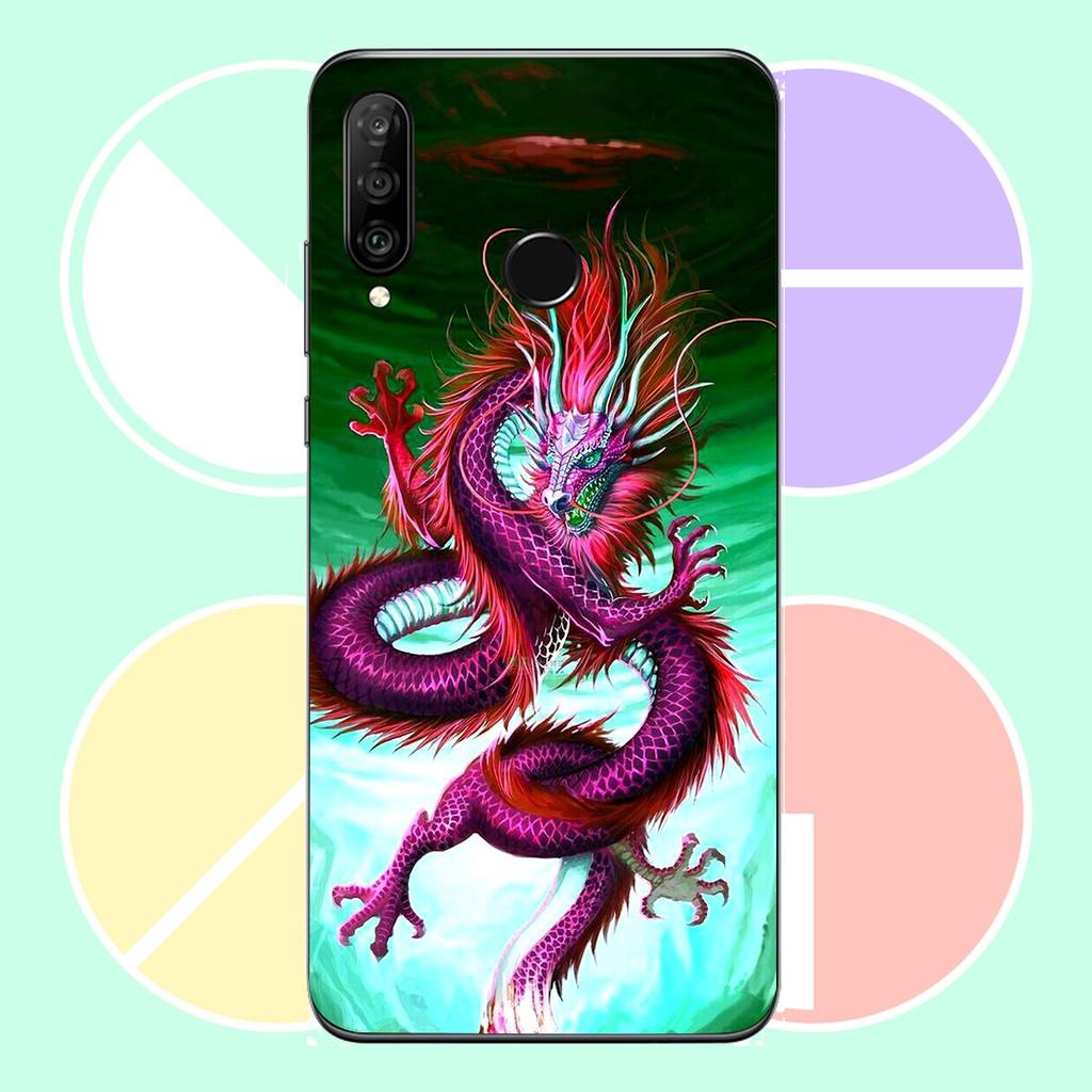 Ốp Lưng Dành Cho Máy  Huawei p30  Lite Ốp Dẻo Viền  Đen Cao Cấp Mẫu Rồng Đen R7